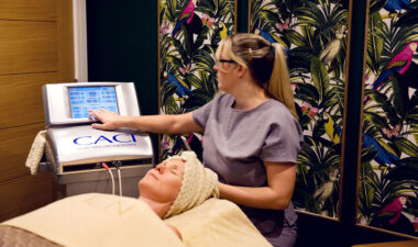 therapist and client during a CACI facial at Eden Beauty and Aesthetics